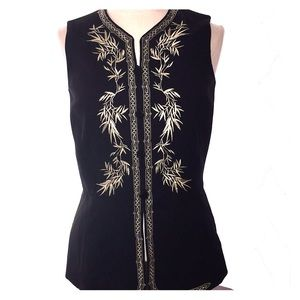NWT Vintage ANN TAYLOR sz 6 Black Embroidered Top